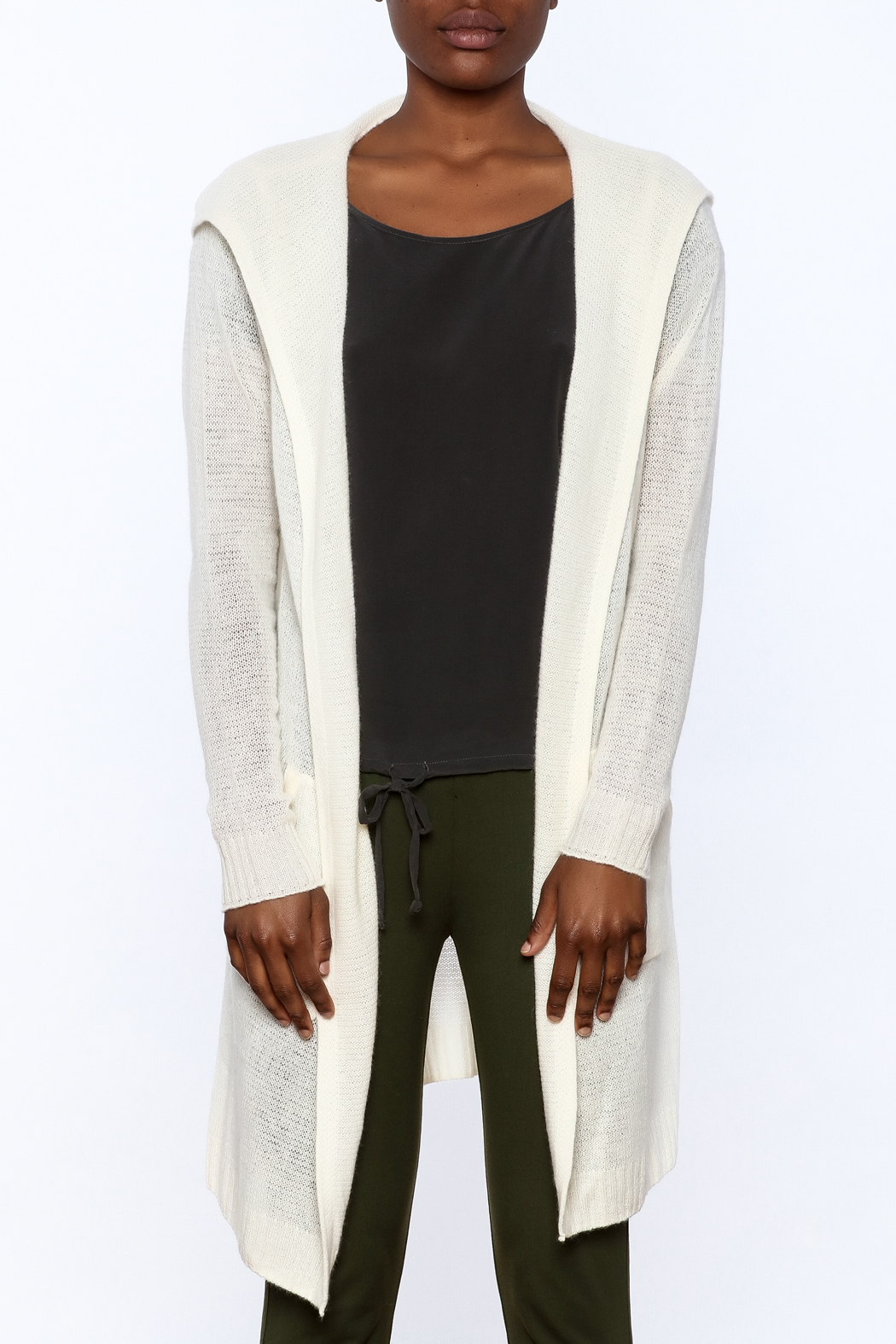 White + Warren White Cashmere Cardigan - Side Cropped Image