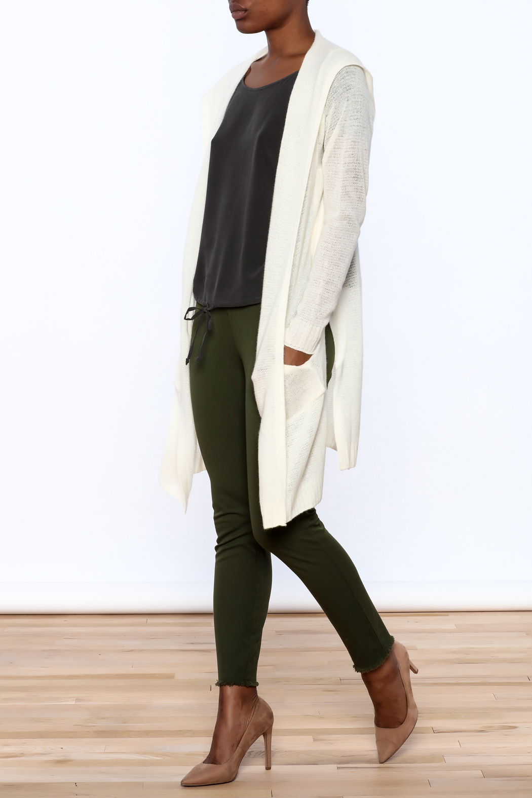 White + Warren White Cashmere Cardigan - Front Full Image