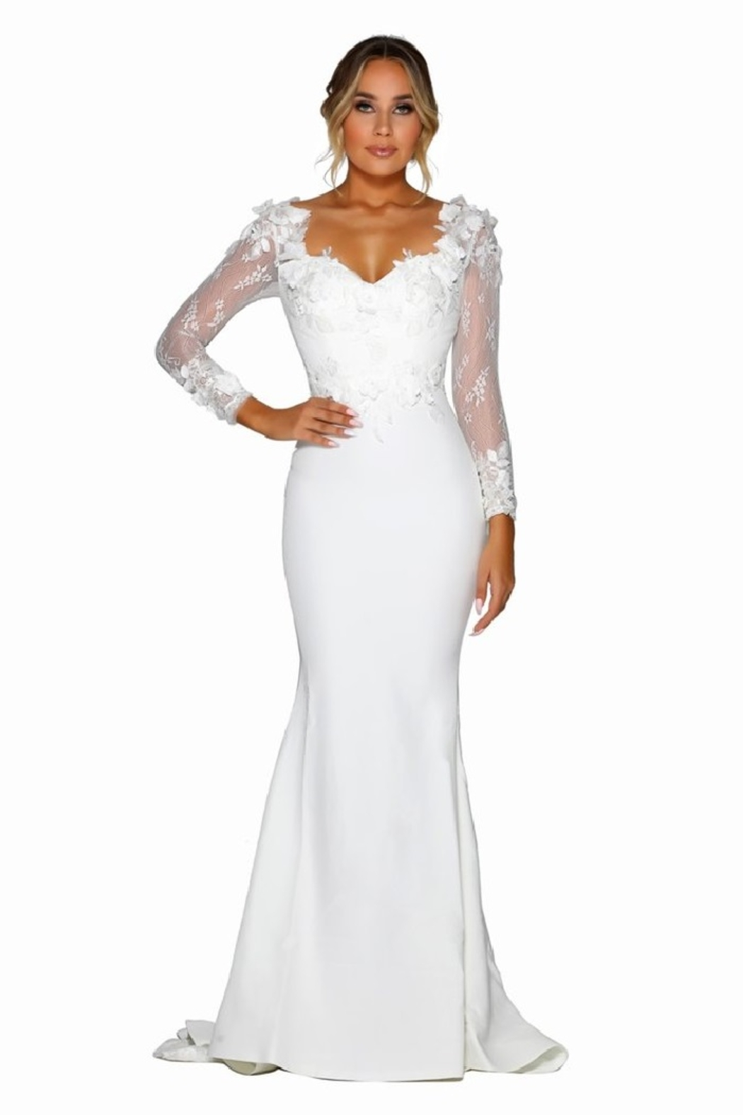 PORTIA AND SCARLETT White 3D Lace Fit & Flare Bridal Gown - Main Image