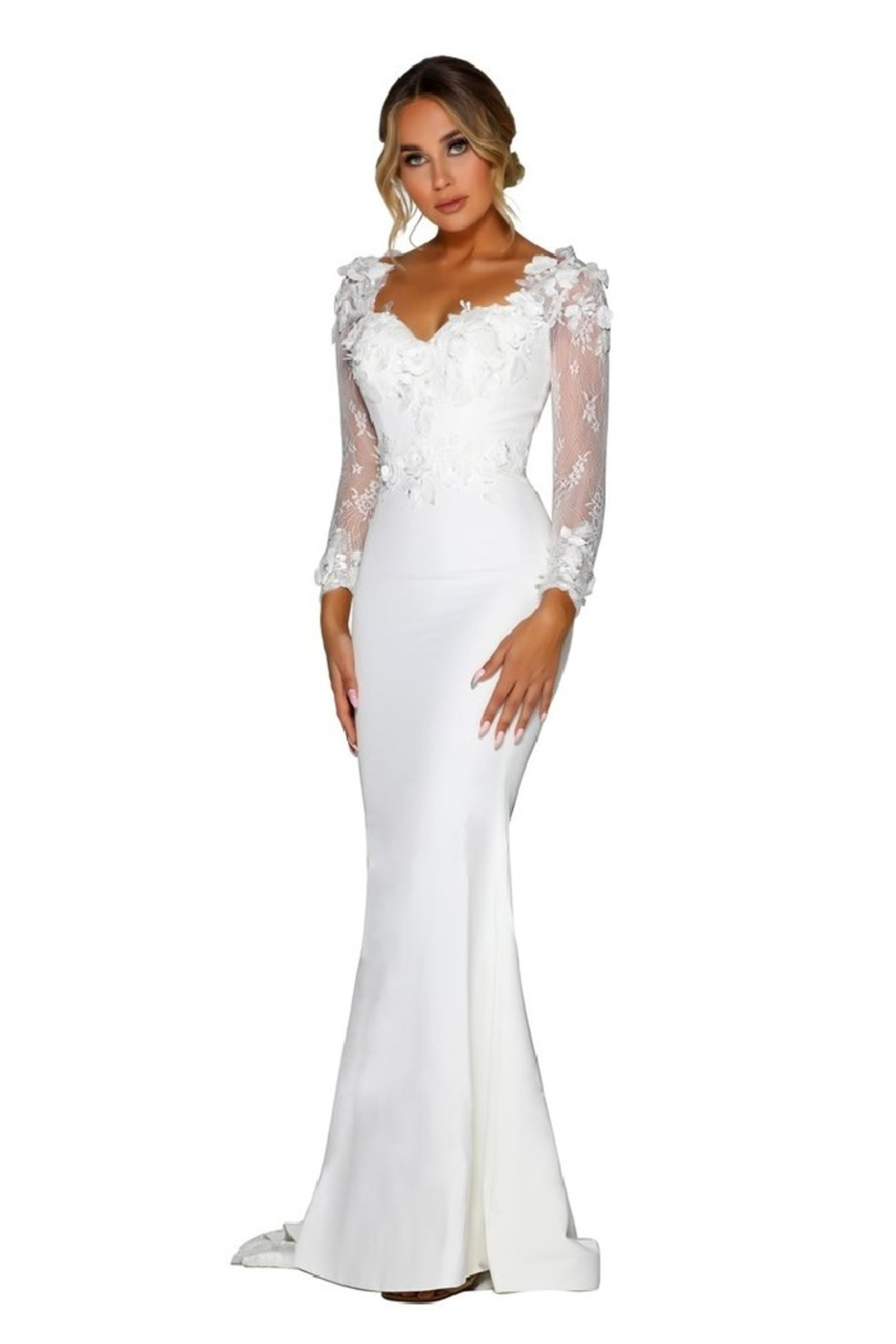 PORTIA AND SCARLETT White 3D Lace Fit & Flare Bridal Gown - Front Full Image