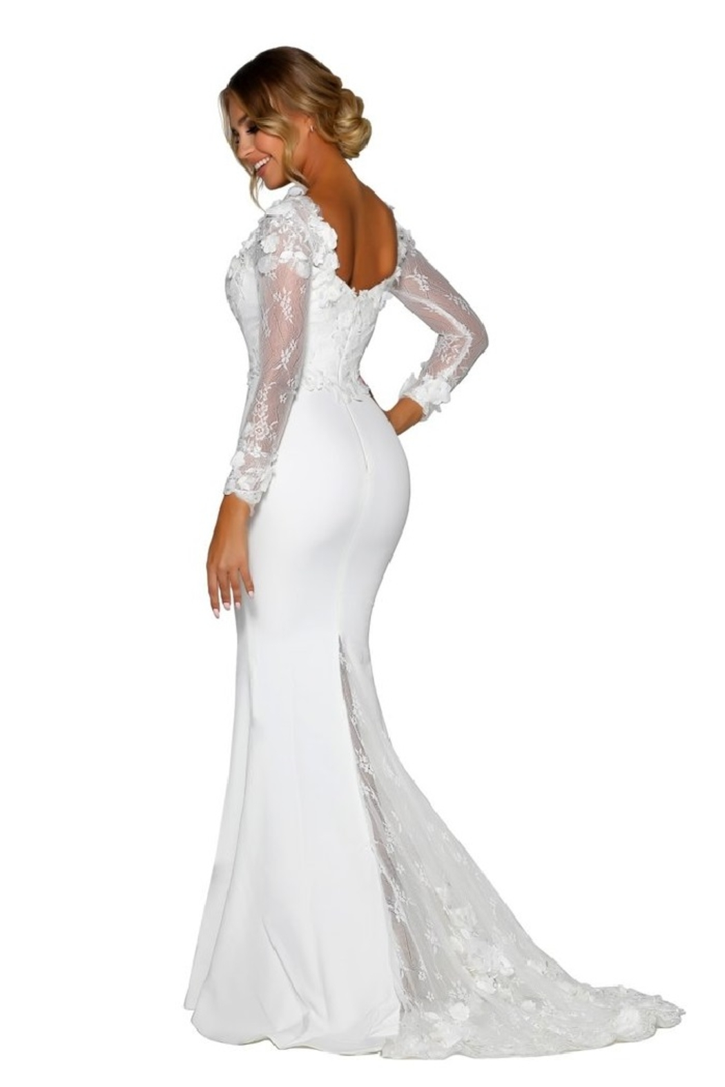 PORTIA AND SCARLETT White 3D Lace Fit & Flare Bridal Gown - Side Cropped Image