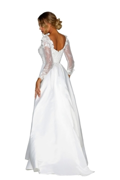 PORTIA AND SCARLETT White 3D Lace Fit & Flare Bridal Gown With Train - Alternate List Image