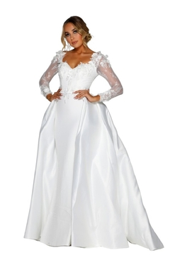 PORTIA AND SCARLETT White 3D Lace Fit & Flare Bridal Gown With Train - Product List Image