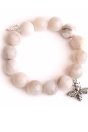 Powerbeads by Jen White Agate w/ Silver Bee - Product Mini Image