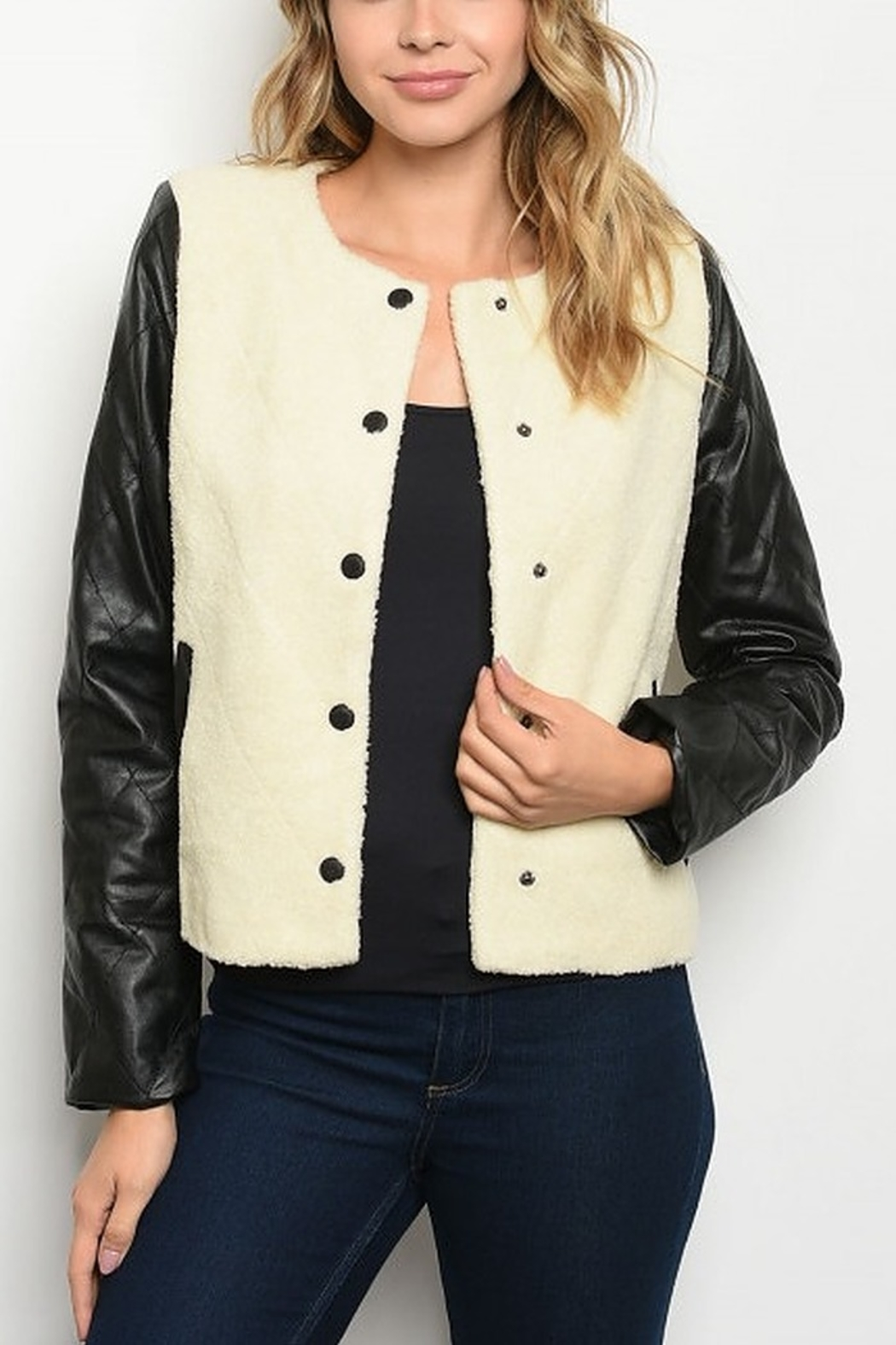 Lyn-Maree's  White and Black Faux Fur Vegan Leather Jacket - Main Image
