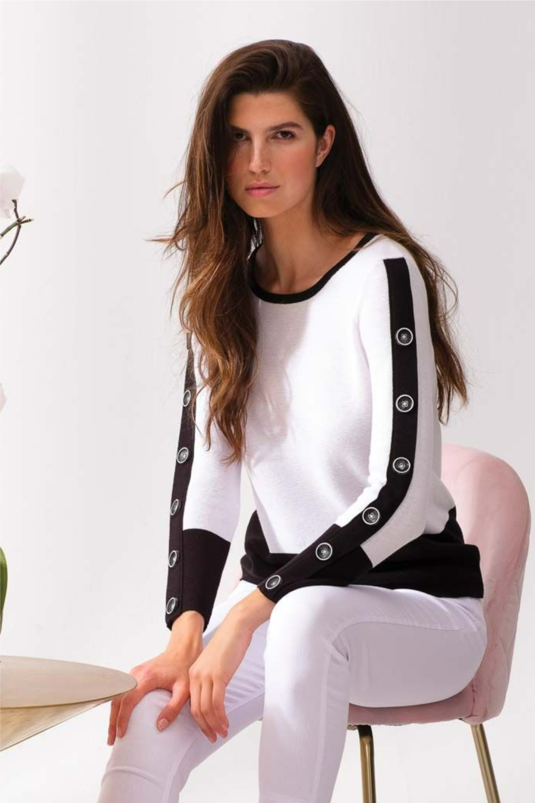 Alison Sheri White and Black Sweater - Front Full Image