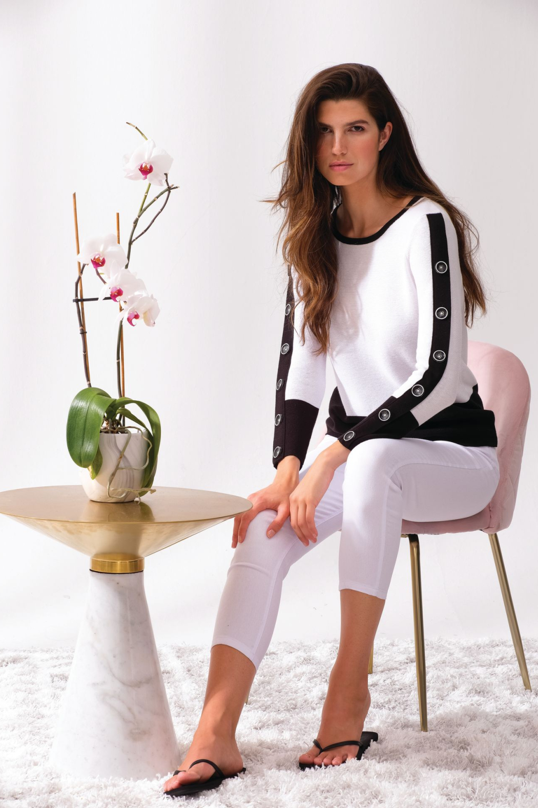 Alison Sheri White and Black Sweater - Side Cropped Image