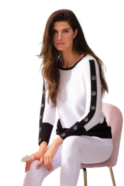 Alison Sheri White and Black Sweater - Front cropped