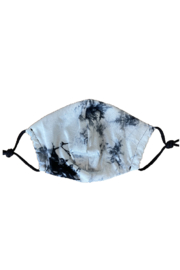 Bedford Basket White and Black Tie Dye Face Mask - Front cropped
