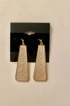 Shoptiques Product: White and Gold Drop Earrings