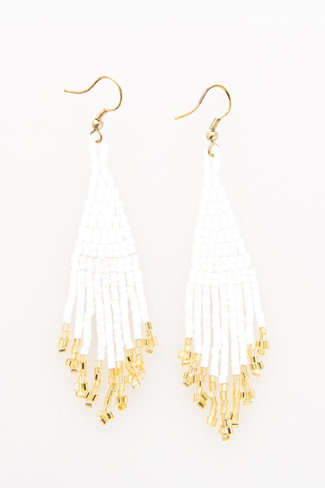 Ink + Alloy White And Gold Fringe Beaded Earring - Main Image