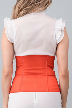 Oh yes Fashion White and orange triple-ruffled corset top - Alternate List Image