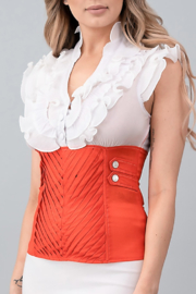 Oh yes Fashion White and orange triple-ruffled corset top - Product Mini Image