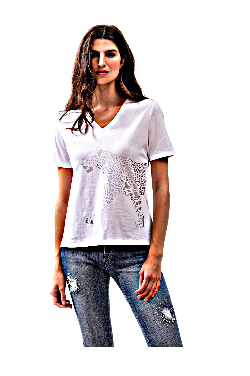 Alison Sheri White and Silver Leopard Tee - Main Image