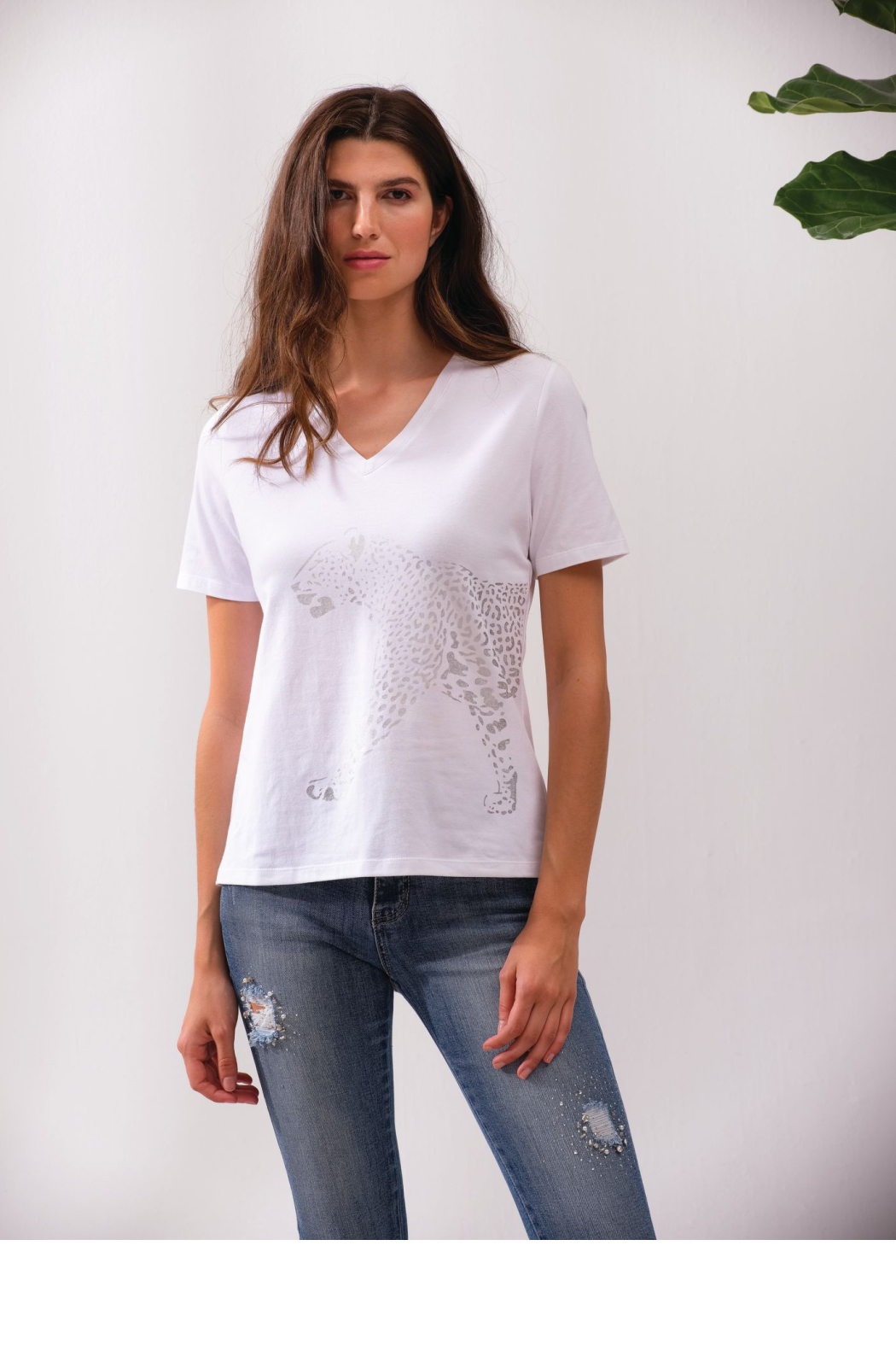 Alison Sheri White and Silver Leopard Tee - Front Full Image