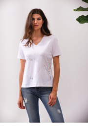 Alison Sheri White and Silver Leopard Tee - Front full body