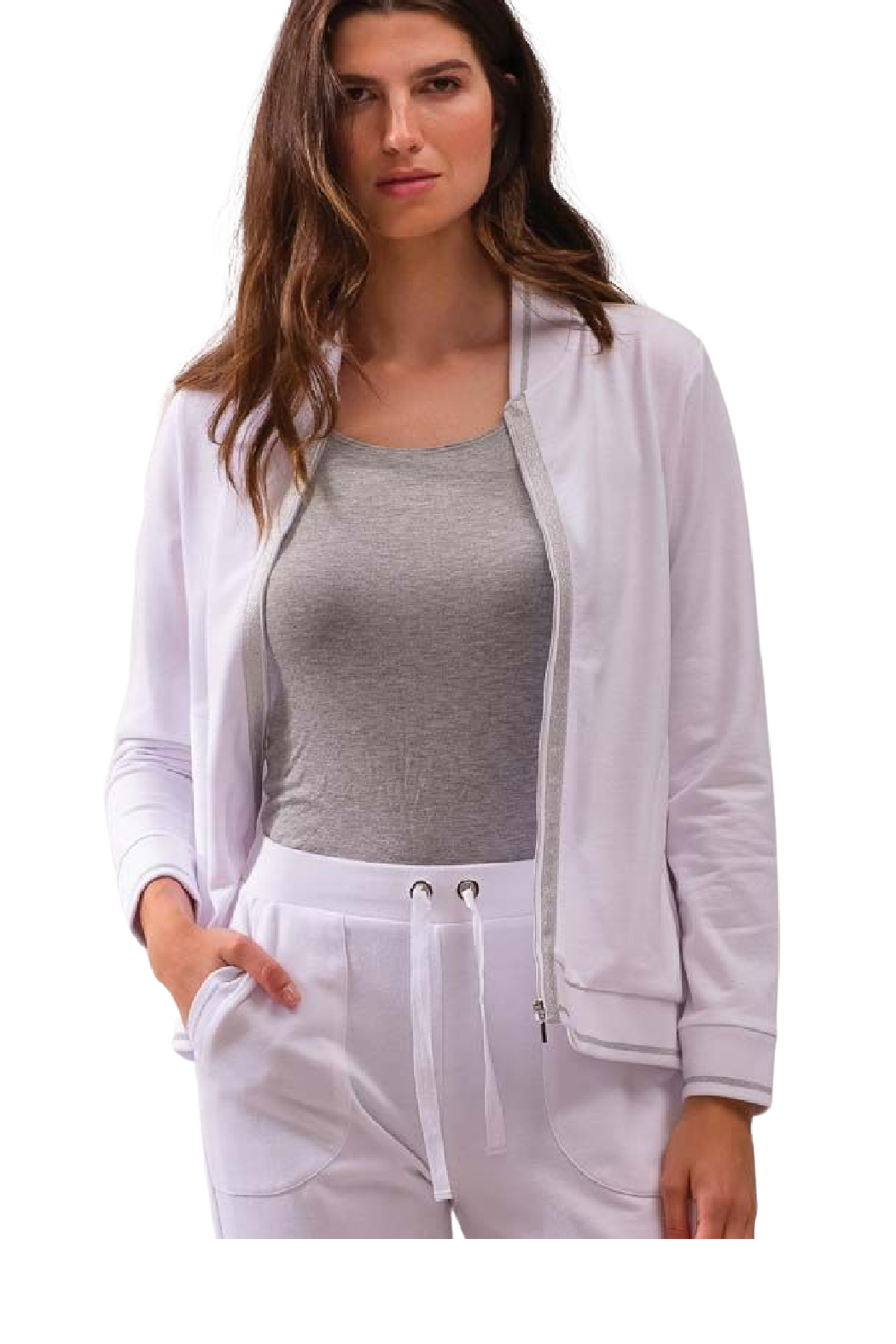 Alison Sheri White and Silver Zip Front Jacket - Main Image
