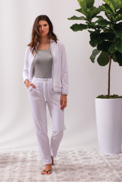 Alison Sheri White and Silver Zip Front Jacket - Alternate List Image