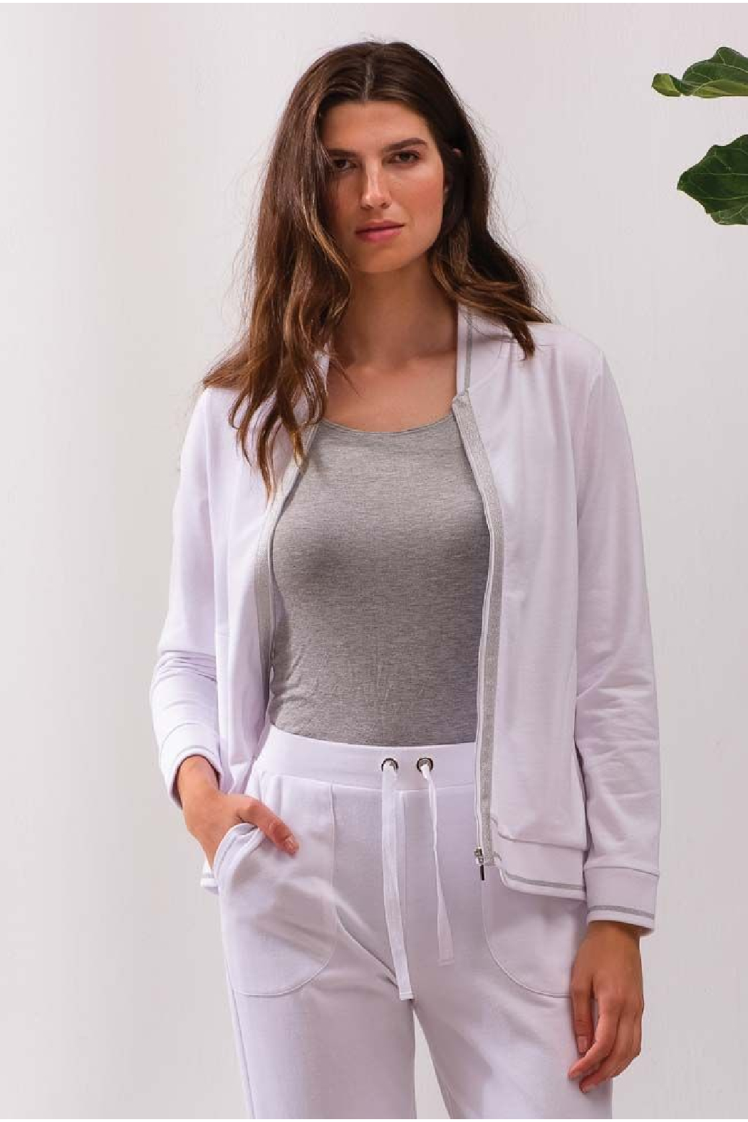 Alison Sheri White and Silver Zip Front Jacket - Front Full Image
