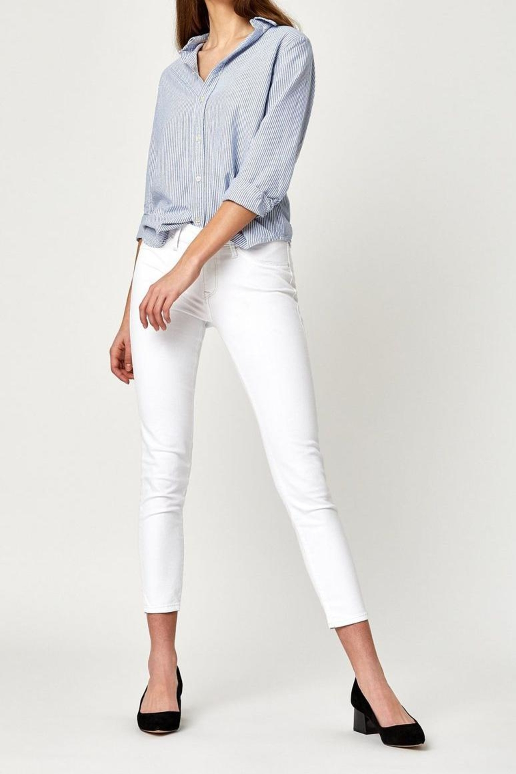 Mavi Jeans White Ankle Crop - Front Cropped Image