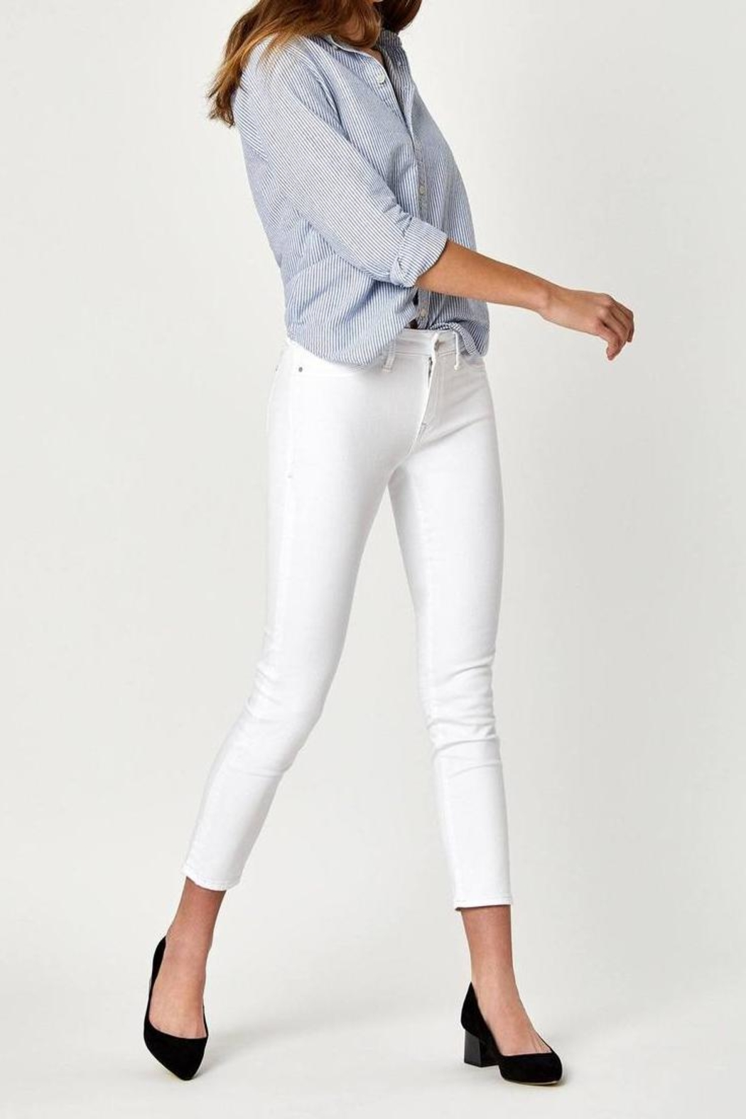 Mavi Jeans White Ankle Crop - Side Cropped Image