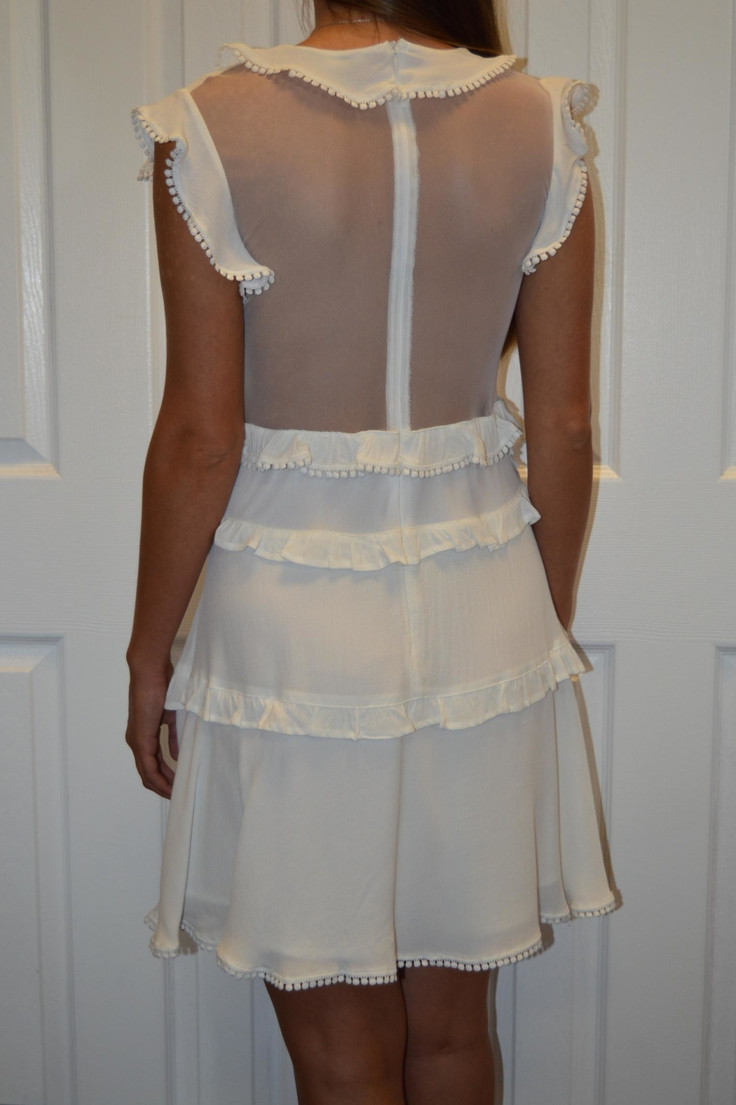 The Clothing Co White Appliqued Dress - Front Full Image