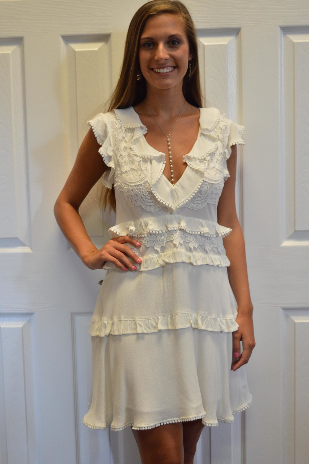 The Clothing Co White Appliqued Dress - Main Image
