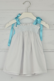 Granlei 1980 White & Aqua Dress - Front cropped