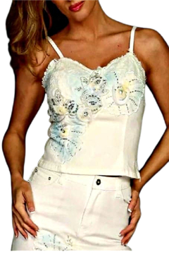 RossiRoma White Beaded Flower Bustier - Product List Image