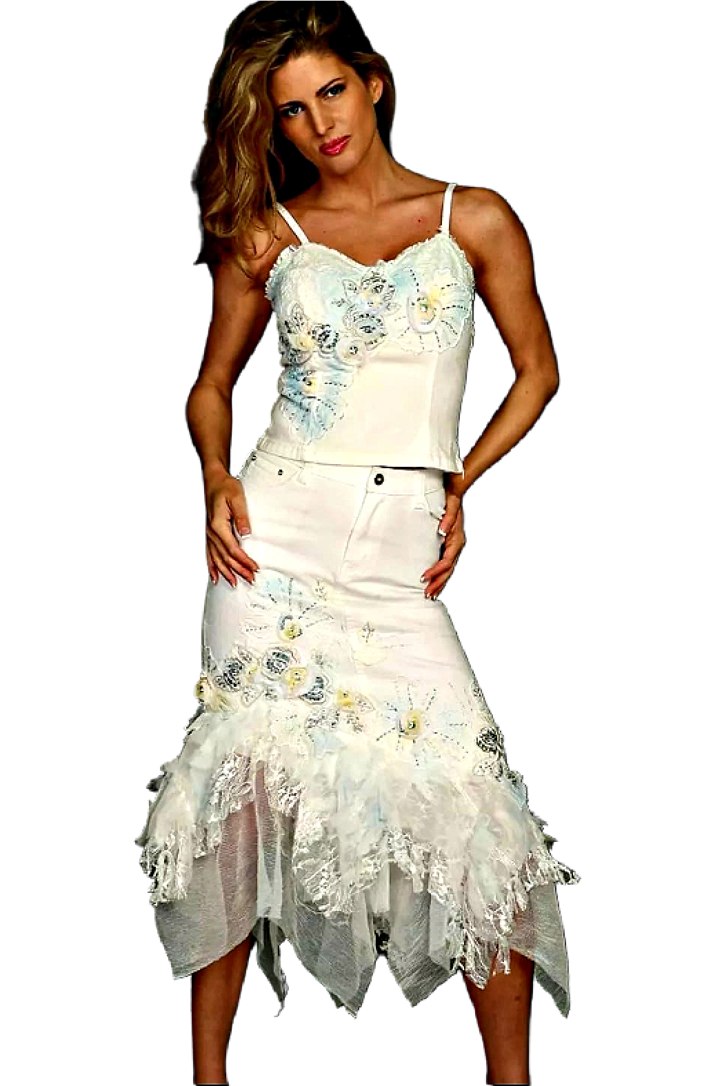 RossiRoma White Beaded Flower Bustier - Front Full Image