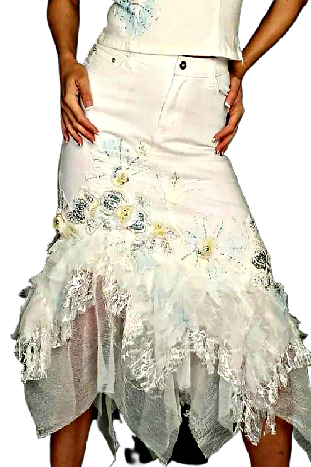 RossiRoma White Beaded Flower Denim Skirt - Main Image