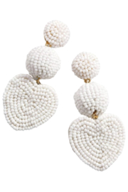 Petunias White Beaded Heart Earrings - Front cropped