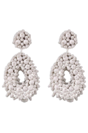 Petunias White Beaded Oval Drop Earrings - Product Mini Image