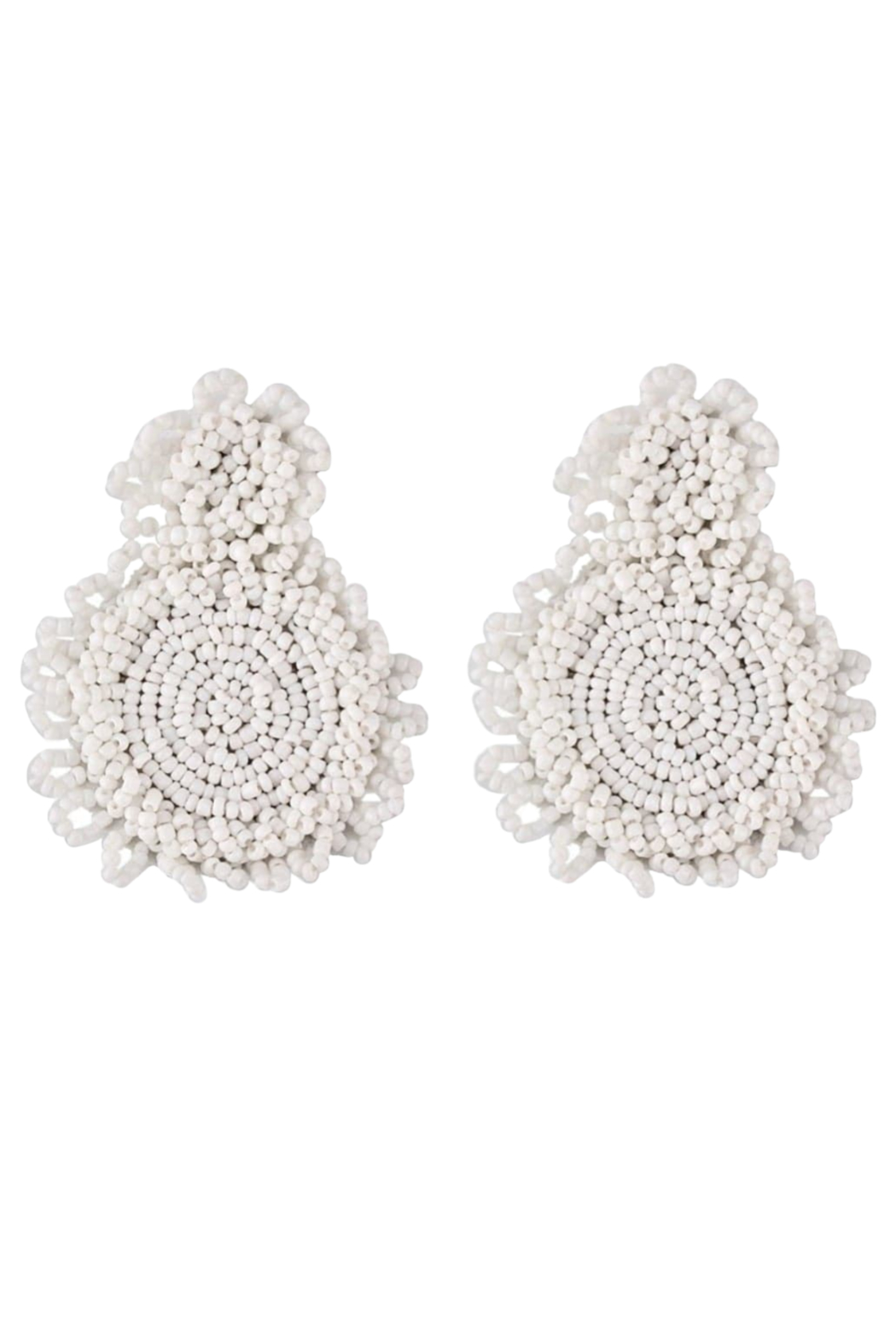 Petunias White Beaded Sphere Earrings - Front Cropped Image