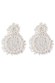 Petunias White Beaded Sphere Earrings - Product Mini Image