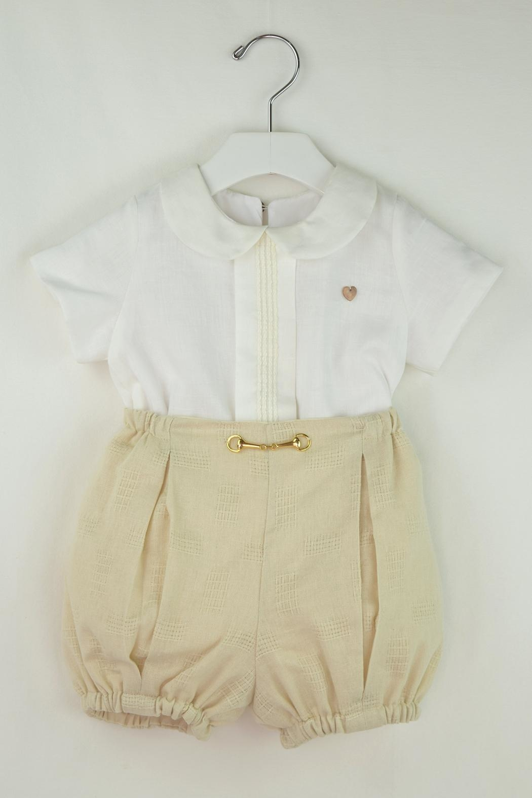 Cuore Baby White & Beige Outfit - Main Image