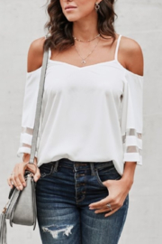 Shiying Fashion WHITE BELL SLEEVE COLD SHOULDER - Product Mini Image