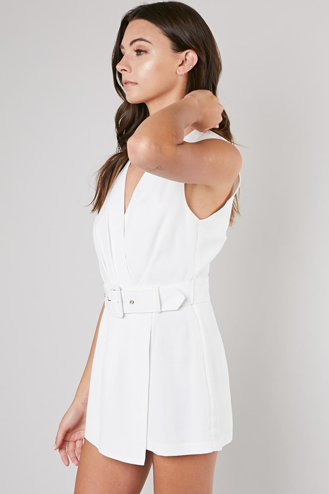 Do & Be White Belted Romper - Front Full Image