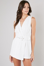 Do & Be White Belted Romper - Front cropped