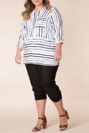 Yest White & Black Stripe Top - Product Mini Image