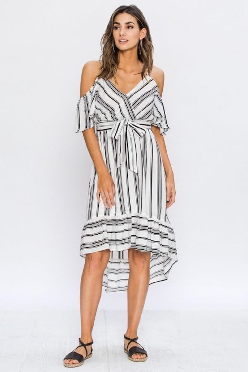 Flying Tomato White/black Stripes Dress - Front Cropped Image