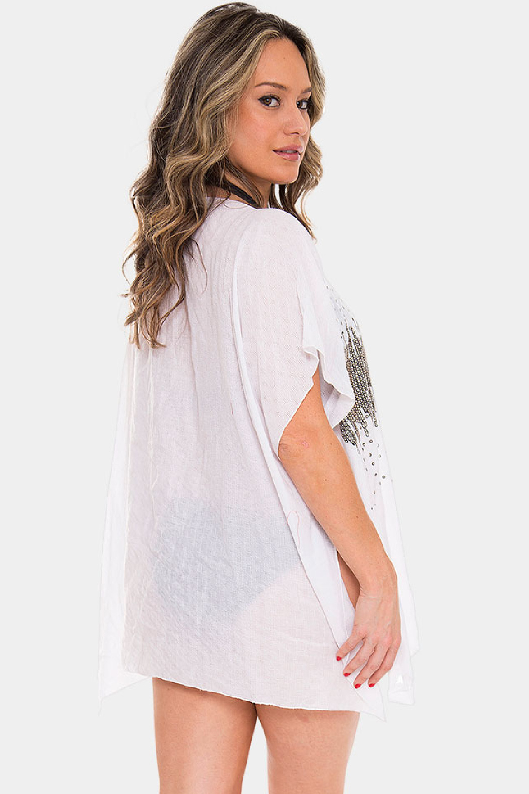 Janice Apparel White Bling Poncho - Front Full Image