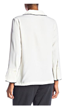 INSIGHT NYC White Blouse with Black Piping - Alternate List Image