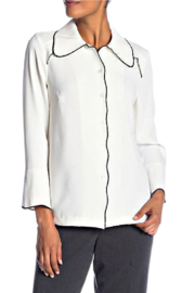INSIGHT NYC White Blouse with Black Piping - Product Mini Image