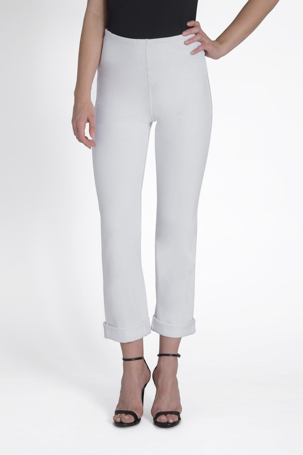 Lysse White Boyfriend Cuffed Denim - Front Cropped Image