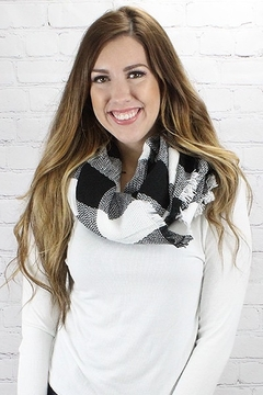 0-105 White Buffalo Plaid Scarf - Alternate List Image
