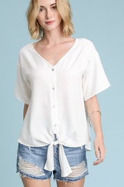 Les Amis White Button-Up-Tie Blouse - Product Mini Image