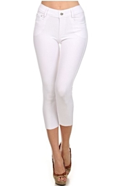 Yelete White Capri Jeggings - Front cropped