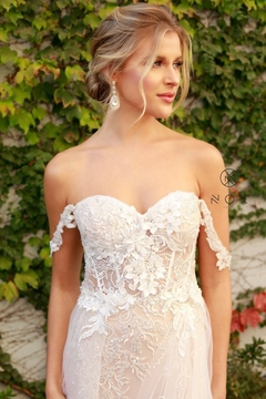 NOX A N A B E L White & Champagne Floral Embroidered Bridal Gown - Alternate List Image