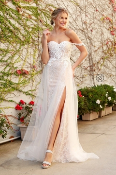 NOX A N A B E L White & Champagne Floral Embroidered Bridal Gown - Product List Image